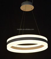 Double simple rings led pendant hanging chandelier light for dining room