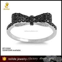 925 sterling silver Micro Pave Cz Bow Tie Ring with black stone