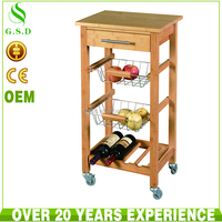 wholesale new design restaurant bamboo food trolley cart for sale
