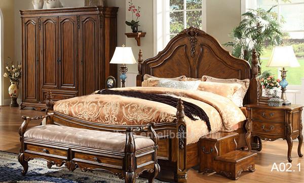 Cl sica de madera maciza cama dormitorio tallado de - Royal design muebles ...