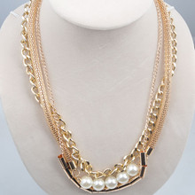 fashion new gold plated chain with pearl stand necklace design jewelry