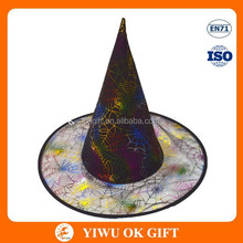 Foil printing color spider web on halloween top hat, decorative top hats, funny hat ideas