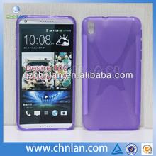 Anti-slip soft tpu rubber x design cover skin for HTC Desire 800
