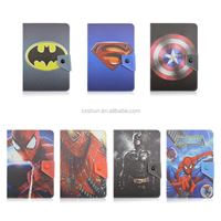 custom design Superman/Spider-Man/Batman protective flip leather case wholesale 8 inch universal tablet case with stand