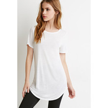 Women longline blank white t shirt