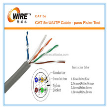 UL List UTP Cat5e Cable, 4pr 24awg, 1000ft/pull box Gray Color Pass Fluke test
