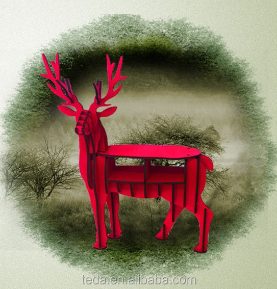 wholesale DIY wood carving craft decoration reindeer of SD-429 Deer Red Wood Table decorations