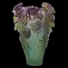 Daum Crystal Rose Passion Magnum Vase Green & Purple 05106-1 In