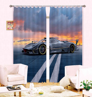 New arrival curtains for manufactured home 100% polyester classic 3d curtains designs with amzing car