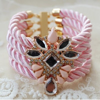 Fashion Layering Light Pink Silk Rope Bracelet with Crystal Jeweled Central Piece