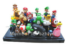 PVC Super Mario Bros Yoshi Figure Dinosaur Android Toys Figure Set18pcs/lot 1-2inch
