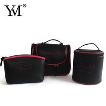2015 custom mini travel promotional elegant black fashion lady PU cosmetic bag set
