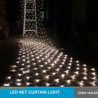 2x2m 4m 144pcs with110v 220v - waterproof outdoor rubber cable LED net light holiday curtain light