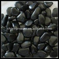 black polished pebbles for garden
