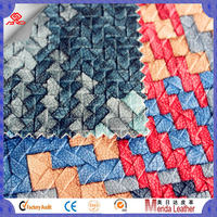 S5005 2016 New fashion pvc weave embossed with transfer film design artificial leather for bag