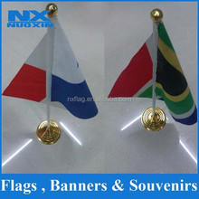 promotion screen printing hemmed 15x21cm desk flag with metal stand