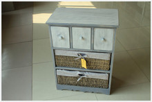 Exclusive fashion design high quality handmade customized wooden cabinet with wicker drawers
