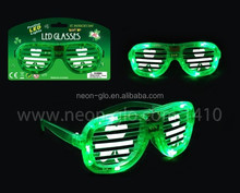 St Patrick Flashing LED Light Up Slotted Shutter Shades Sunglasses Glow Party Glasses