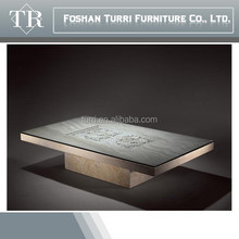modern hand carved in-lay natural marble coffee table with glass on top