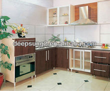 Modern and cheap mould pressing PVC finish kitchen cabinet customized kitchen furniture Foshan