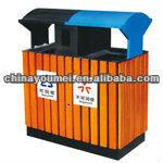 wooden outdoor trash bin
