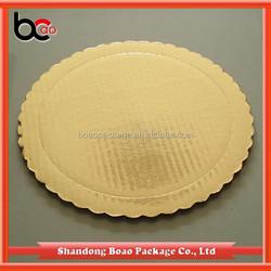 2mm Gold round scalloped cardboard cake circle