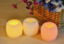 Votive Small Round Yellow Lighting Flickering LED Carved Wax Candle With Auto Timer