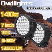 140w LED Car Headlight Accessories Cars 7 Inch LED Spot Light Offroad 12V LED Flood Light 6000K Mini Jeep 4x4 Truck