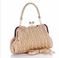 2014 China online shopping wholesale brand women high quality ruched design PU famous bags with diamond