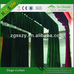Hight Quality Flame Resistant Black & Red Velvet Theater Curtains For Sale