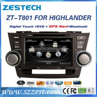 ZESTECH Factory CE certification 8'' car dvd for TOYOTA HIGHLANDER 2 din Car dvd with GPS+Bluetooth+MAP+Rearview Camera+Radio+3G