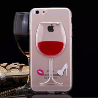 Crystal Transparent Soft TPU Cover Case for iPhone 6 Liquid Red Wine Glass Phone Case