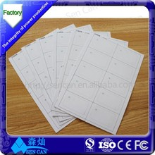 5*7 3*8 3*7 A4 RFID inlay 125KHz / 13.56MHz/UHF pvc sheet 0.4/0.45/0.5MM thichness from China biggest RFID factory