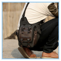 Vintage canvas leather patchwork shoulder military messenger bag for men boys sling school bags