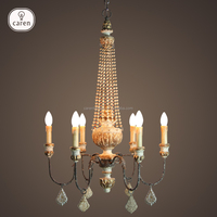 Caren iron with wooden elegance wooden beads crystal vintage chandelier