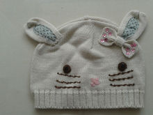 100% acrylic knitted lovely baby girls winter hats