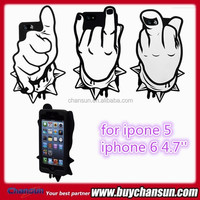 Cool cartoon finger rock silicon protective case for iphone 6