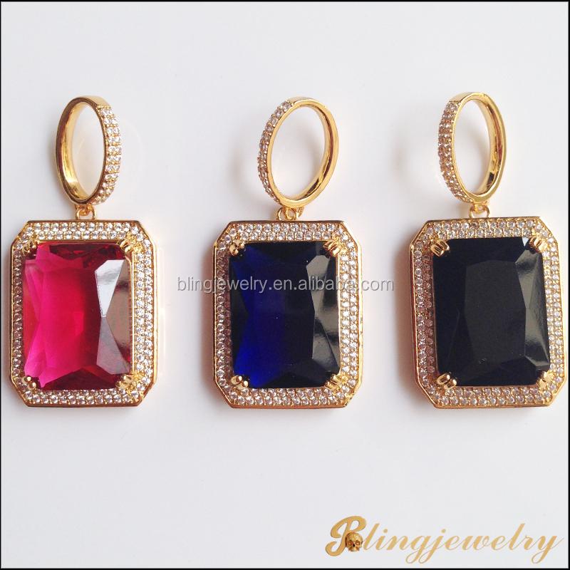 Hip hop pendant big stone pendant jewelry ruby stone pendant brp002g aloadofball Images