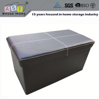 Foldable modern leather storage ottoman for shoes
