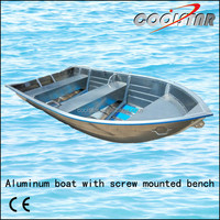 Aluminum boat with screw mounted bench,square gunwale and rubber coating
