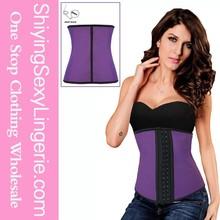 New Design Purple Steel Bone Latex Under Bust waist training corsets wholesale