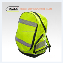 high visibility fluorescent yellow sport& leisure travel bag with 2 reflective tape