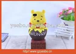 Lovely Winnie The Pooh Bear soft silicone Case for iphone 4/4S for galaxy S3 S4