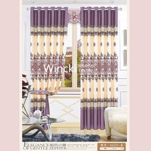 Euro style polyester flower design printing blackout fabric window curtain