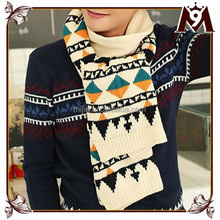 High grade winter wholesales thick men knitting fashion scarf with geometric pattern