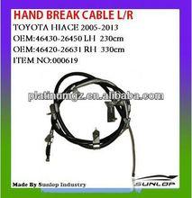 toyota hiace car parts hand break cable#000619 L/R 46430-26450,46420-26631 for hiace van,commuter,KDH200 #000619 quantum