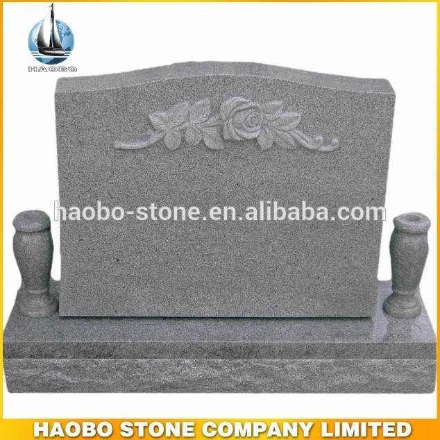 Grey Granite Rose Carving Tombstone With Vase For Cemetery Buy