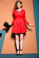 Wintter ladies warm fashion dresses long sleeve red evening dress without crystal appliqued