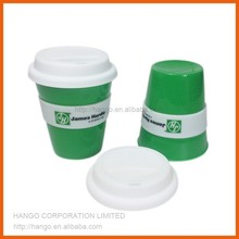 Custom Branded Plastic Coffee Cup With Silicone Lid And Holder