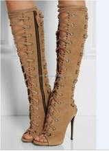 Bulk Wholesale Shoes Ladies High Heels Sexy Lace Up Shoes Women Leather High Thigh Heels